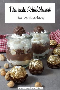 The best chocolate dessert for Christmas: Rocher layered dessert . - The best chocolate dessert for Christmas Rocher layer dessert Layered Desserts, Christmas Desserts, Easy Desserts, Dessert Recipes, Cupcake Recipes, Italian Cookie Recipes, Italian Desserts, Dessert Simple, Dessert Blog