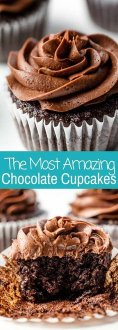 The Most Amazing Chocolate Cupcakes The Most Amazing Chocolate Cupcake Recipe is here! These are the chocolate cupcakes you've been dreaming of! Cupcake Recipes, Baking Recipes, Dessert Recipes, Recipe For Cupcakes, Perfect Cupcake Recipe, Moist Cupcakes, Party Cupcakes, Frosting Recipes, Mini Cakes