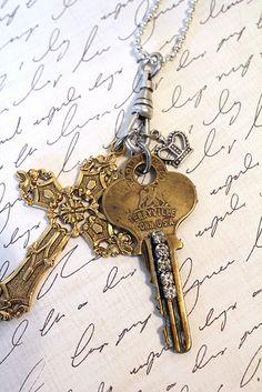Rhinestone Key with cross