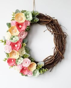 Even though it is rainy here today.... it is currently in the 60s and I am in heaven! I'm feeling everything spring right now. I finished this spring wreath up yesterday. She'll be listed in the shop tonight, link in bio.