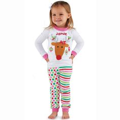 e26d1790f7a Mud Pie Baby Girl Reindeer Cheer Collection Lounge Set Christmas Pajamas New