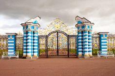 The Golden Gate entrance of the Catherine Palace at Tsarskoye Selo.