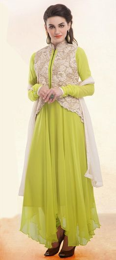 SPRINGS are definitely about NEONS! Check out this #NeonGreen style.  #SalwarKameez #Partywear #Wedding #bride #florescent #springsummer #gilet #indianfashion #anarkali