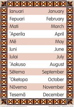 Months of the Year Samoan Bilingual Chart Tongan Culture, Polynesian Culture, Polynesian Art, Hawaii Life, Aloha Hawaii, Hawaii Language, Hawaiian Quotes, Samoan Food, Alphabet Charts