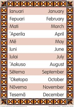 Months of the Year Samoan Bilingual Chart   Pasifika Resources