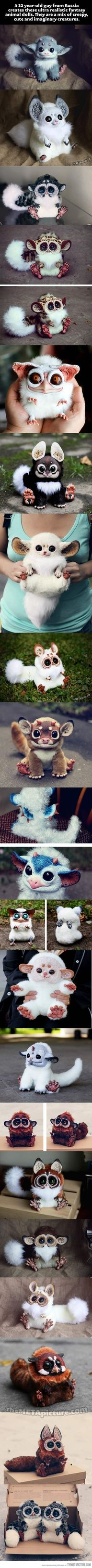 Ultra-realistic fantasy animal dolls. they remind me of furby's, i want one!