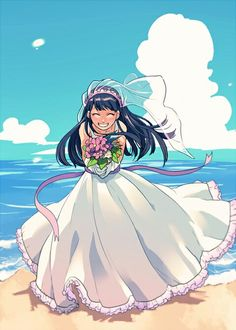 beach black_hair blue_sky bouquet cloud codename:_kids_next_door day dress eyes_closed flower gown holding holding_bouquet kuki_sanban long_hair ocean outdoors ribbon sand shaded_face sky smile solo t_k_g veil water wedding_dress Gravity Falls, Old Cartoon Network, Anime Version, Old Shows, Animation, Cartoon Shows, Manga Pictures, My Character, Cute Drawings