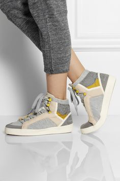 Adidas by Stella McCartney | Discosura Hiker jersey and faux suede sneakers | NET-A-PORTER.COM