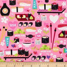 Kanvas Little Harajuku Little Sushi Pink Fabric Benartex