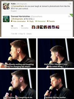 """""""[gifset] #Danneel on making fun of Jensen. #Jensen on knowing it, and JJ being just like her mother"""