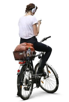 A woman on bicycle listening to music People Cutout, Cut Out People, Figure Reference, Body Reference, Bicycle Drawing, Render People, People Png, Photoshop Rendering, Pose Reference Photo