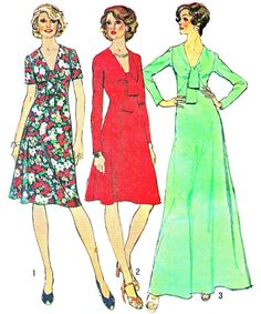 1970s Dress Pattern Simplicity 6509 Low Cut Fit and Flare Tie Collar Day Evening Dress Womens Vintage Sewing Pattern Bust 34 Uncut