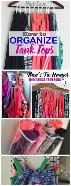 4 Easy Ways to Organize Tank Tops. If you find your closet is a bit of a mess, and you would like to make your closet more organized, then there are some very helpful ways in this blog article. It's definitely worth your time to read up on this.  Visit Hip2Save.com for more tips on home organization, saving money, and craft ideas.