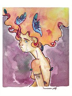 """""""Hueco"""" ilustración en acuarela y tinta sobre papel guarro"""