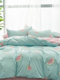 To find out about the Watermelon & Letter Print Sheet Set at SHEIN, part of our . - Adri ideas para cuarto - To find out about the Watermelon & Letter Print Sheet Set at SHEIN, part of our latest Bedding Sets - Bed Sets, Bed Sheet Sets, Dream Rooms, Dream Bedroom, Master Bedroom, My New Room, My Room, Teen Room Decor, Bedroom Decor