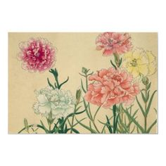 Shop Japanese Woodblock Floral Carnations Poster created by yesterdaysgirl. Japanese Art Styles, Japanese Design, Watercolor Flowers Tutorial, Art In The Park, Oriental Flowers, Lotus Design, Japanese Flowers, Japanese Painting, Arts And Crafts Projects