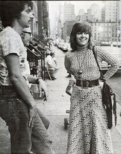 Jane Fonda on the set of Klute directed by Alan J. Pakula, 1971