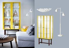 STOCKHOLM yellow cabinet with tempered glass doors and shelves
