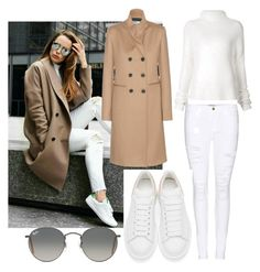 """""""white & camel"""" by rhmz on Polyvore featuring Frame Denim, Haider Ackermann, Victoria Beckham, Ray-Ban, Alexander McQueen, women's clothing, women, female, woman and misses"""