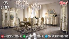 Termewah Set Meja Makan Jepara Aksen Gold Ivory Luxury Royal DF-1326