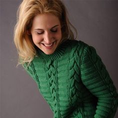 Woman's pull published in Marie-Claire-idées.Knitting pattern for women irish pullover. In pure merino wool, knitted in Welts, cable, twisted st. This pattern is suitable for qualified knitter Elegant Man, Green Wool, Green Fabric, Pulls, Merino Wool, Knitting Patterns, Irish, Men Sweater, Pullover