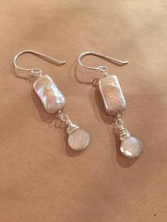 Sterling Silver Freshwater Pearl and Silver-Coated Moonstone