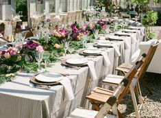 Farm Table Wedding Reception-- Like the wooden chairs Farm Table Wedding, Rustic Wedding, Boho Wedding, Wedding Ceremony Decorations, Wedding Reception, Reception Ideas, Santa Barbara, English Garden Wedding Inspiration, Garden Inspiration
