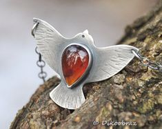 Sterling silver and red garnet necklace | Oxidized silver garnet necklace | Silver bird pendant | Silver garnet pendant | Artisan pendant