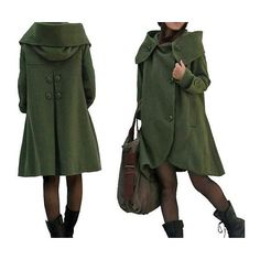 Dark Green Cloak Wool Coat Hooded Cape Women Winter Wool Coat ($149) ❤ liked on Polyvore featuring outerwear, coats, dark green, women's clothing, dark green cloak, wool overcoat, cloak coat, wool capes and asymmetrical wool coat