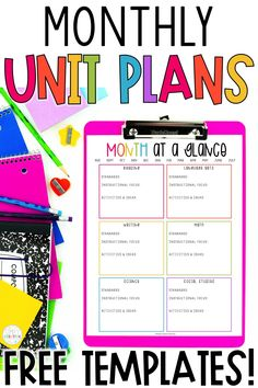 Use these free unit planning templates when writing your lesson plans. These month at a glance printable planning sheets are perfect for elementary plans. Your unit planning organization and monthly lesson plans will be much easier to write with these freebies!