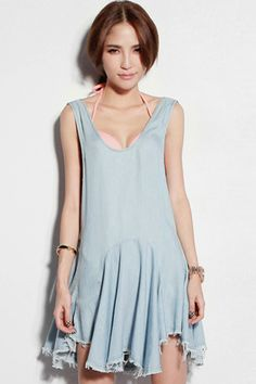 #ROMWE Cut-out Wave Hem Blue Dress
