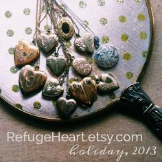 Holiday locket collection, 2013 Refugeheart.etsy.com Vintage, gold, silver, antique, necklace, lockets.