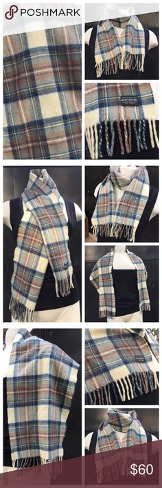 """Brooks Brothers wool plaid scarf NWOT Beautiful wool scarf.  Plaid. Colors include cream, navy blue, reddish brown rust, green, and a few lines of deep yellow.  It's a neutral scarf with beautiful sophisticated colors.  Excellent condition.  Never used.   54"""" long with 2"""" fringe on each end.  12"""" wide. Brooks Brothers Accessories Scarves & Wraps"""