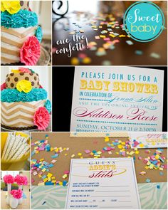 really like this! Could incorporate it into a grown up jungle theme. Cute Aqua + Yellow Baby Shower!