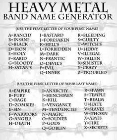 Heavy Metal band name generator (Link likely won't work)