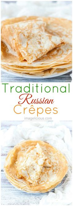 These Traditional Russian Crepes are delicious to have for breakfast with maple syrup or your favourite jam and yogurt. You can also stuff them with ricotta or make them savoury serving them with smoked salmon or cheese | Imagelicious