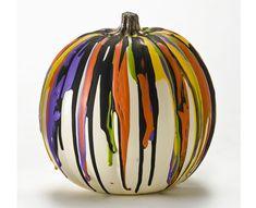 Plaid® Color Drip Pumpkin with FolkArt Acrylics #halloween #craft #pumpkin #pumpkindecorating