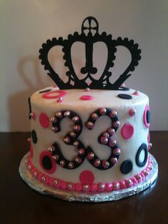 33rd Birthday Cake! Buttercream icing with fondant details. Paper crown.