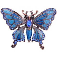 Shop for Rosetone Blue Crystal Art Deco Butterfly Brooch. Get free delivery On EVERYTHING* Overstock - Your Online Jewelry Shop! Insect Jewelry, Butterfly Jewelry, Animal Jewelry, Blue Butterfly, Butterfly Design, Monarch Butterfly, Fashion Jewelry Stores, Jewelry Accessories, Jewelry Design