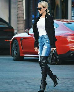 Black OTK boots and jeans street style Thigh High Boots, High Heel Boots, Over The Knee Boots, Heeled Boots, Stiletto Boots, High Leather Boots, Sexy Boots, Black High Heels, Fashion Boots
