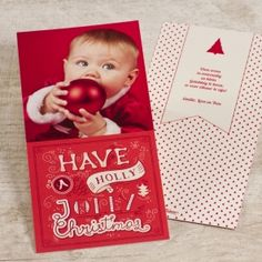 Rode 'Holly Jolly Christmas' kerstkaart | Tadaaz #christmascard #kerstkaart #foto #rood #red #bolletjes