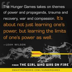 Leah Wilson on the Hunger Games trilogy, from THE GIRL WHO WAS ON FIRE #YAbooks #quotes #HungerGames #TheHungerGames #CatchingFire #GWWoFQuotes #TheGirlWhoWasonFire #LeahWilson