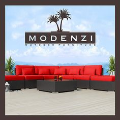 Modenzi 7x Modern Patio Rattan Wicker Set Outdoor Sectional Sofa Furniture Chair