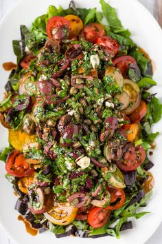 Roman Salad- tomatoes, garlic, kalmatta olives, capers and balsamic. via  Minimally Invasive
