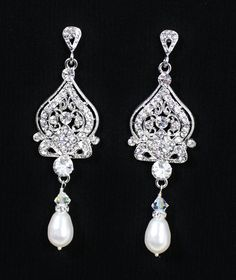 Crystal Bridal Earrings Rhinestone & Pearl Wedding by JamJewels1