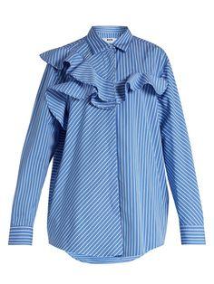 Ruffle-trimmed striped cotton shirt | MSGM | MATCHESFASHION.COM