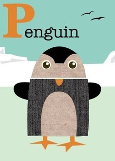 Letter P penguin by JennSki on Etsy, $14.00
