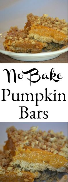 No oven needed for these delicious pie like no bake pumpkin bars. They are a perfect addition to the Thanksgiving dessert table and have a great pumpkin spice flavor . Pumpkin Bars, Baked Pumpkin, Pumpkin Dessert, Pumpkin Cheesecake, Pumpkin Recipes, Fall Recipes, Holiday Recipes, Pumpkin Spice, Pumpkin Foods