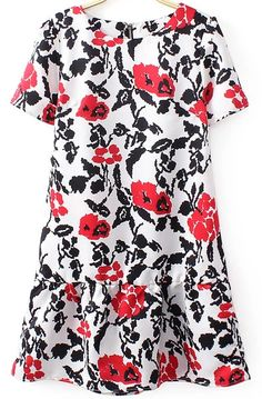 White Short Sleeve Zipper Vintage Floral Dress 18.33