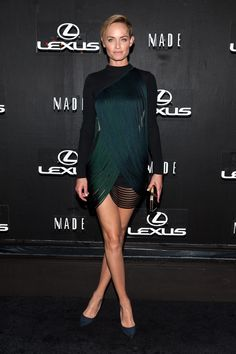 Amber Valletta wearing our black stretch cady Gustavo Dress with transparent stitch lines from the Stella McCartney Winter '14 collection at Lexus Design Disrupted in New York City.  Photo courtesy of Getty Images.